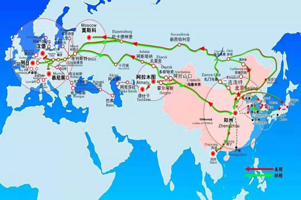 route of train shipment